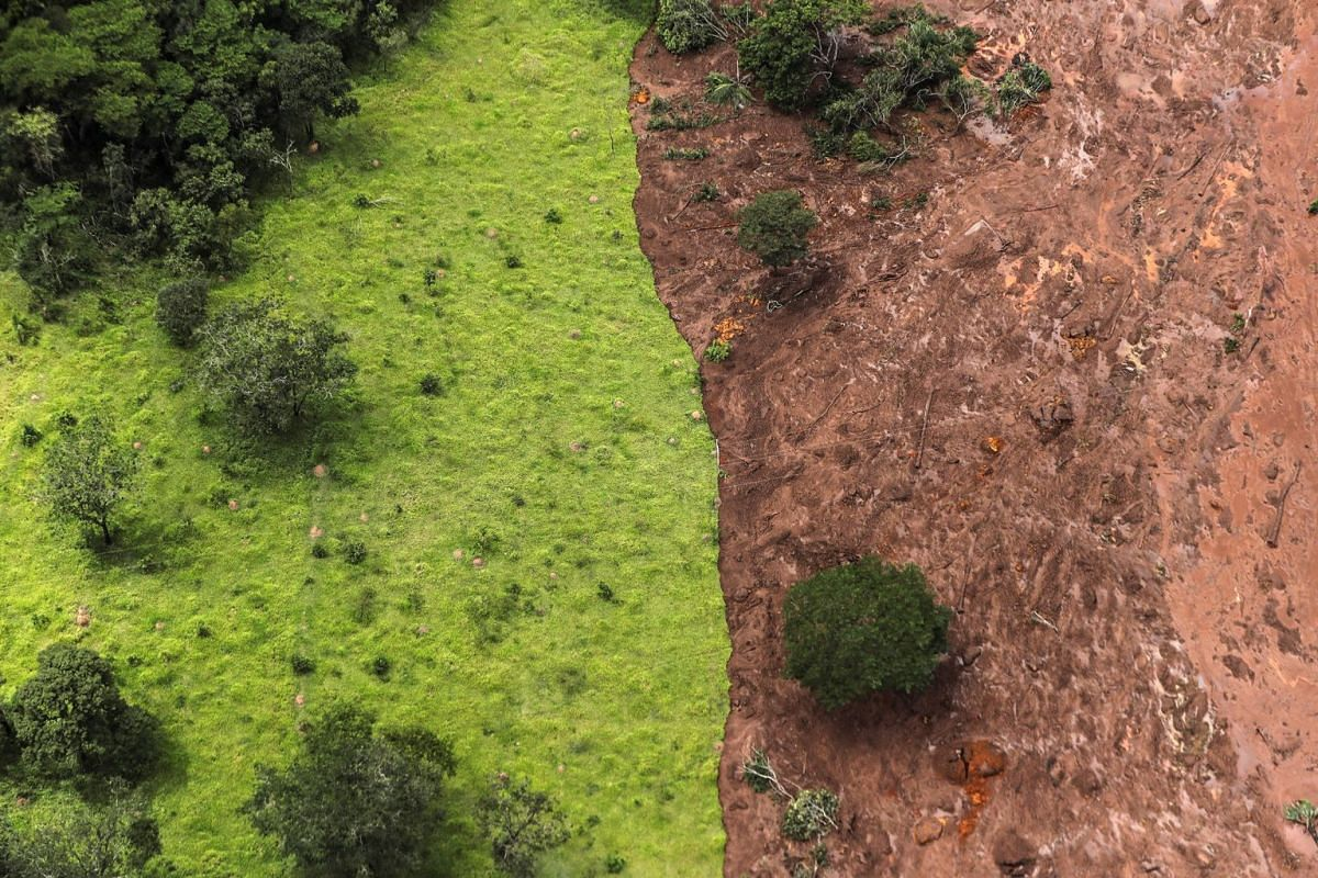 Aerial view over mud and waste from the disaster caused by dam spill in Brumadinho, Minas Gerais, Brazil, January 26, 2019. PHOTO: EPA-EFE