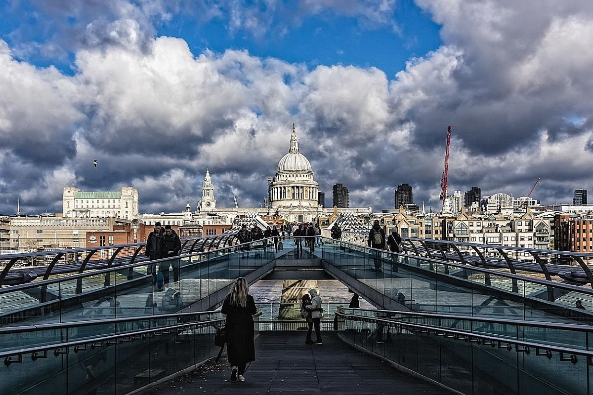St Paul's Cathedral and the Millenium Bridge, London, England.