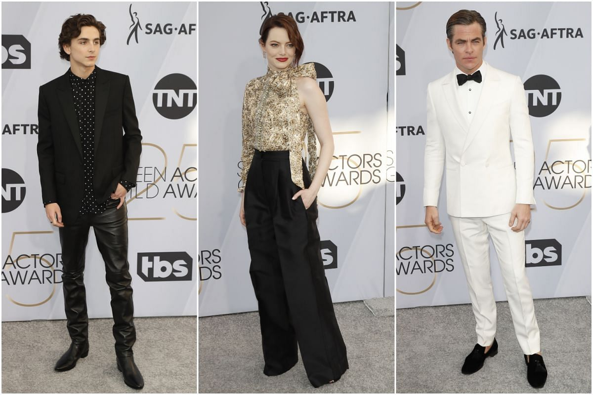 (From left) Timothee Chalamet, Emma Stone and Chris Pine.