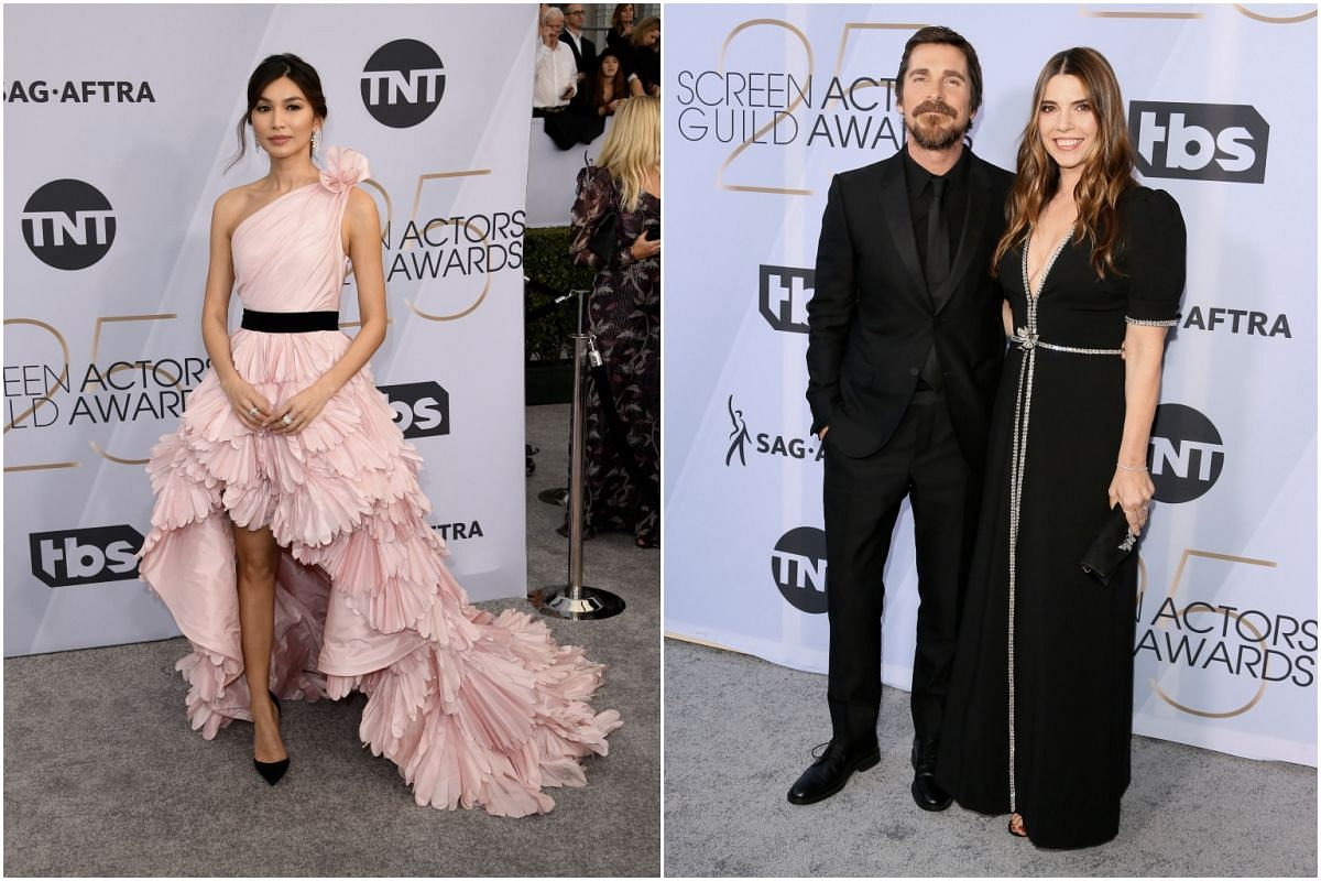 Crazy Rich Asians actress Gemma Chan (left), and Christian Bale with wife Sibi Blazic.