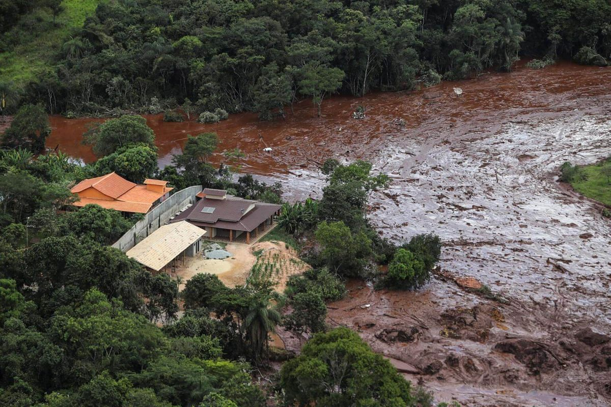 A river of mud and waste is created by a dam spill in Brumadinho, on Jan 26, 2019.