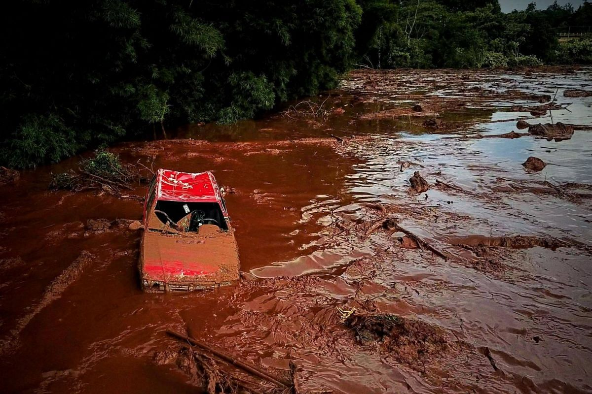 Damage caused by the breakage of a dam in Brumadinho, on Jan 25, 2019.