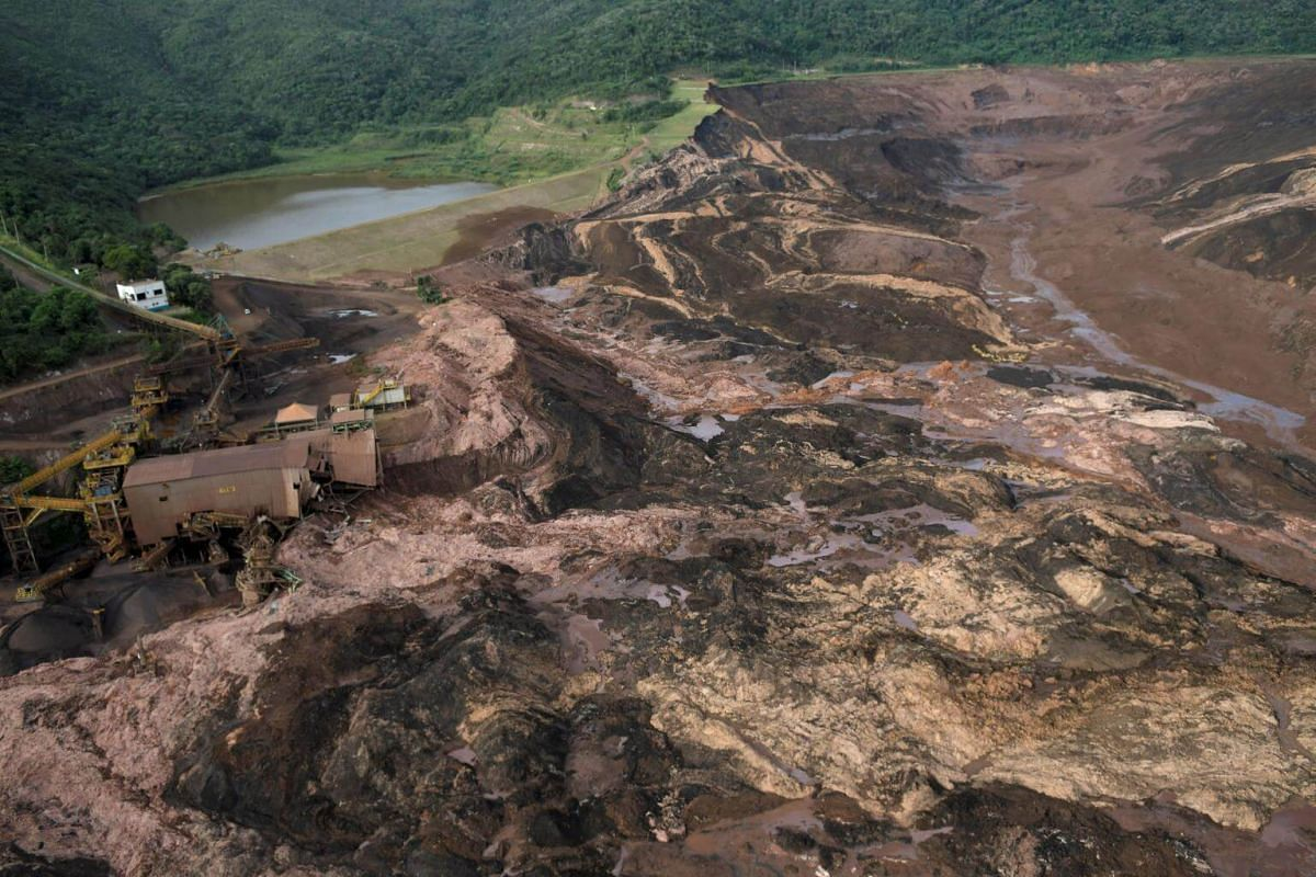 The dam owned by Brazilian miner Vale SA that burst in Brumadinho, on Jan 25, 2019.