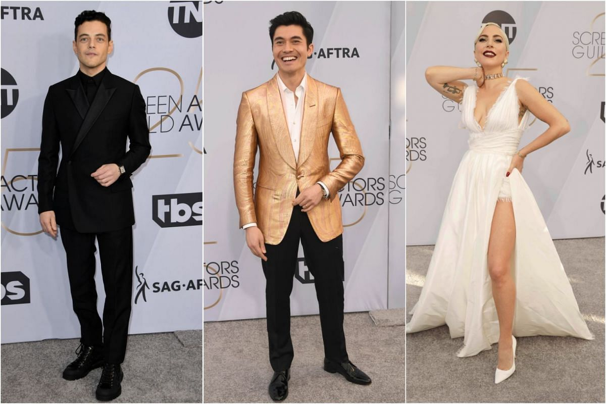 (From left) Bohemian Rhapsody star Rami Malek, Crazy Rich Asians actor Henry Golding and A Star Is Born actress Lady Gaga.