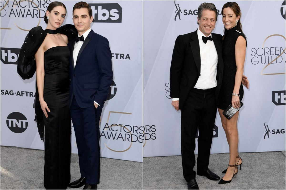 Alison Brie with husband Dave Franco, and Hugh Grant with wife Anna Eberstein.