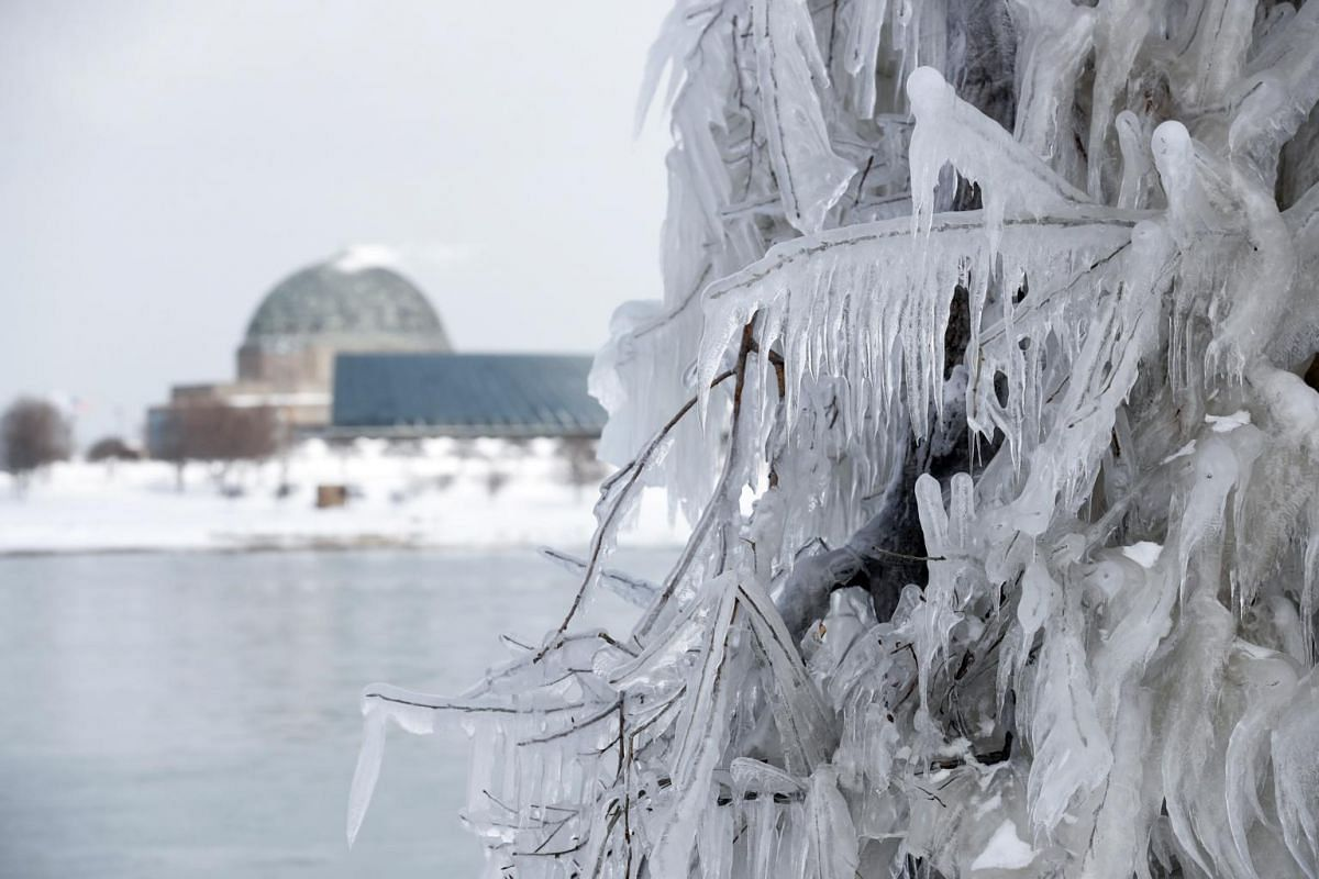 Ice and snow build up along Lake Michigan in Chicago, Illinois, on Jan 29, 2019.