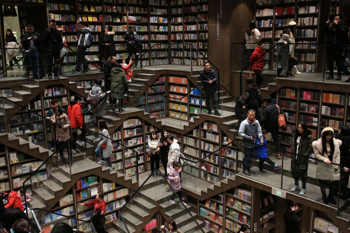 Visitors are seen inside a newly opened bookstore in Chongqing, China, Jan 29, 2019. PHOTO: REUTERS