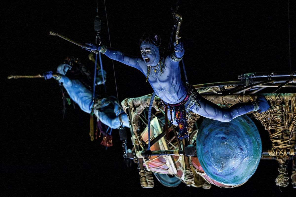 Cirque du Soleil members perform on stage during the presentation of the spectacle Toruk - The First Flight at the WiZink Center in Madrid, Spain, on Jan 30, 2019. PHOTO: EPA-EFE