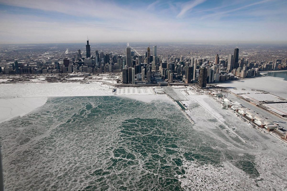 Ice builds up along the shore of Lake Michigan as temperatures during the past two days have dipped to lows around -20 degrees on January 31, 2019 in Chicago, Illinois. PHOTO: GETTY IMAGES/AFP