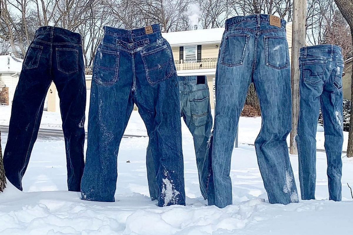 Frozen pants stand alone in Saint Anthony Village, Minnesota, U.S. January 30, 2019 in this image obtained from social media on January 31, 2019. PHOTO: PAM METCALF VIA REUTERS