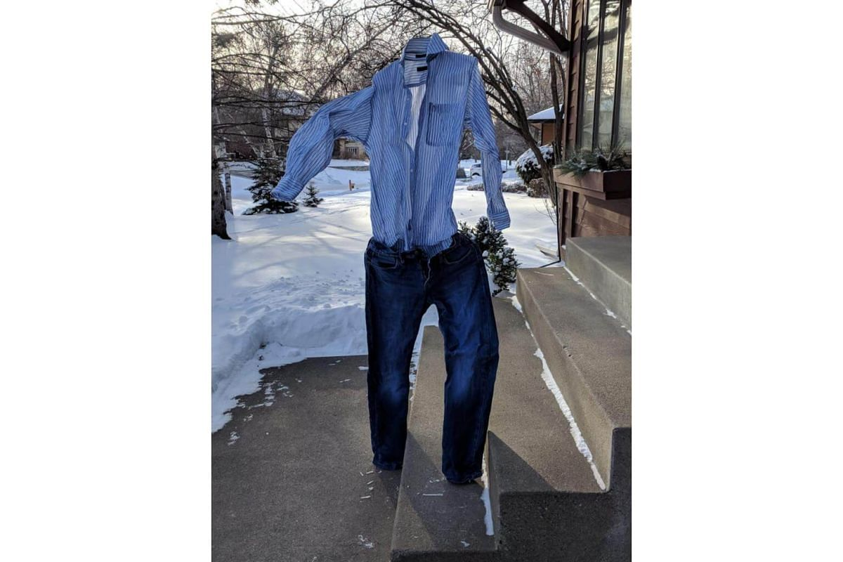 Clothes frozen by the polar vortex in a residential neighbourhood in Minneapolis, US, on Jan 31, 2019.