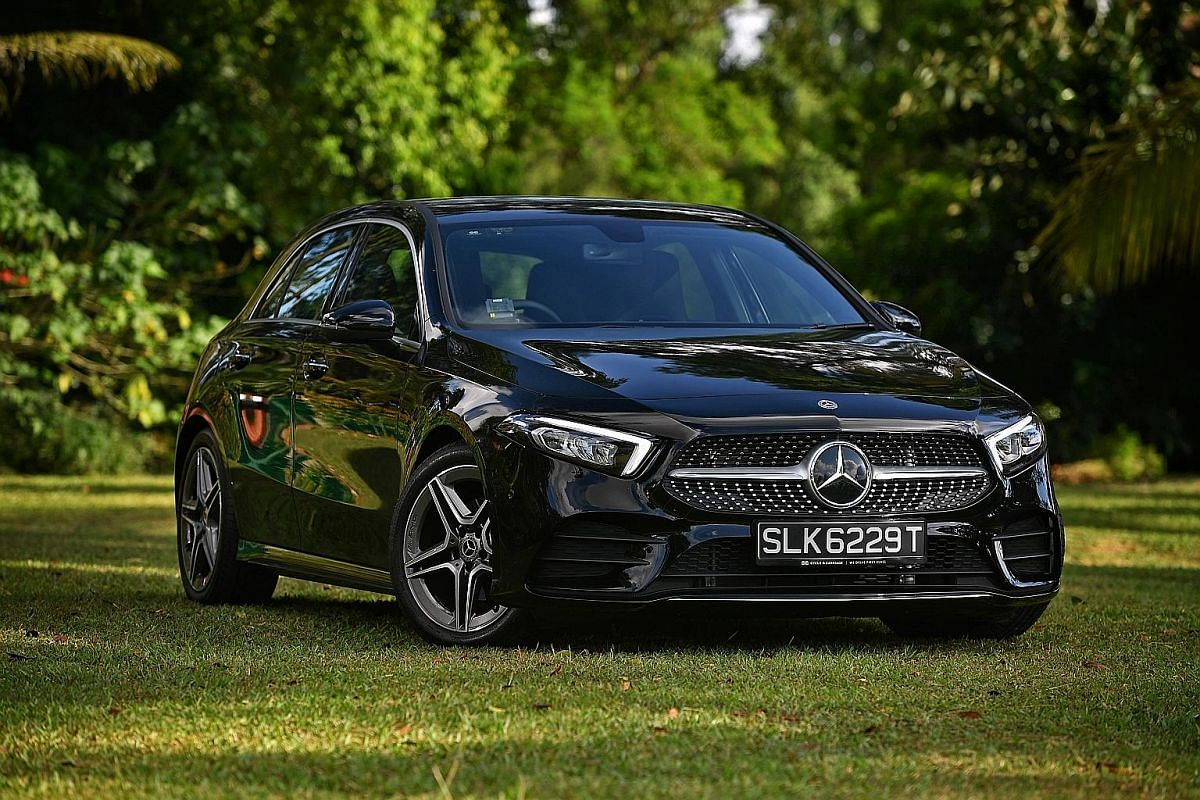The Mercedes-Benz A-class is a low-slung hatchback with sharp styling and modern features.