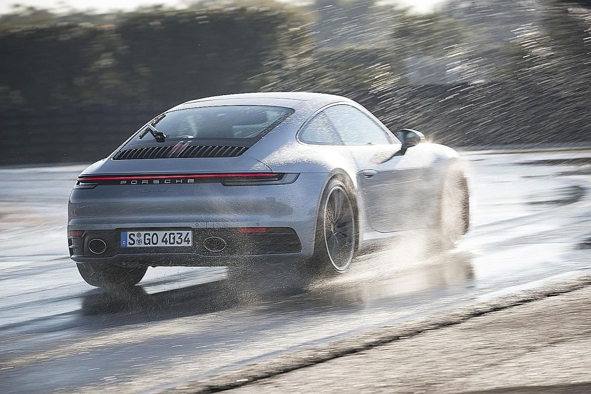 On top of the usual electronic safety systems and driver aids, the Porsche 911 has a Wet mode, which will adjust throttle response and traction control settings to maximise stability when activated.