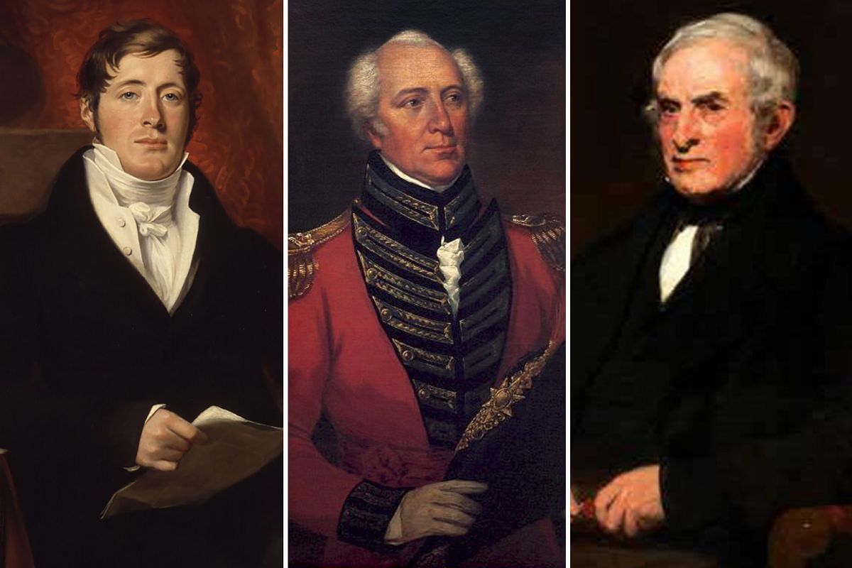 Left: Stamford Raffles laid down broad principles, plans and priorities for Singapore but he was largely absent. Center: William Farquhar improved port facilities, established a harbour, organised defence and provided infrastructure. Right: John Craw