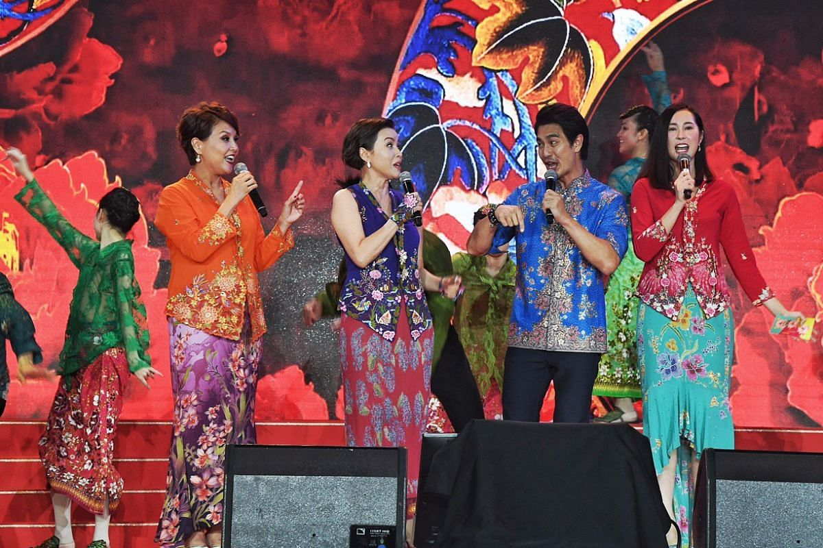 (From left) Aileen Tan, Zoe Tay, Pierre Png and Paige Chua at the Chinese New Year countdown in Chinatown.
