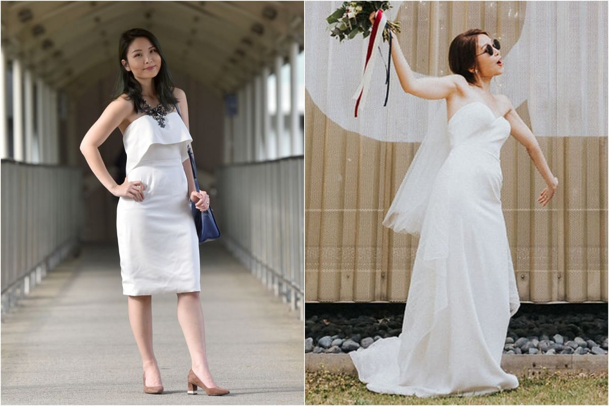 Ms Lexy Leong had her wedding gown (right) turned into a cocktail dress (left). The gown was shortened and its sides taken in to become a knee-length pencil skirt. The excess material from the train was turned into a detachable straight-cut front fla