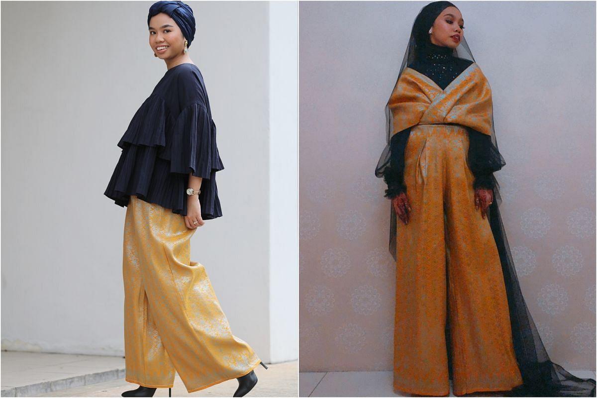 Associate editor Syazana Hishamuddin custom-made a pair of yellow palazzo pants and drape top out of traditional Malay songket fabric for her wedding reception. She pairs her palazzo pants with tops for Hari Raya visiting.