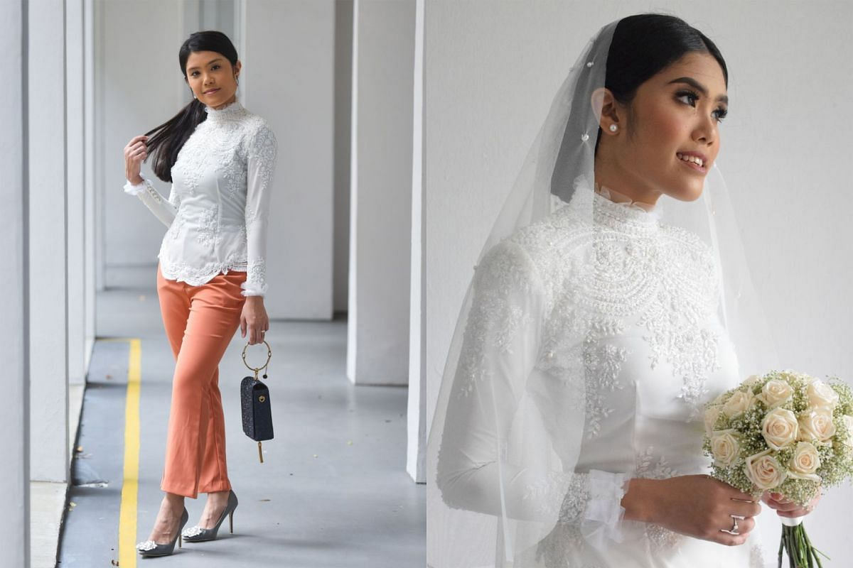 Civil servant Fatin Hazirah had a two-piece kebaya (right) custom-made for her engagement in November 2017. She has since worn the pieces separately, such as pairing the top with a bold colour bottom (left).