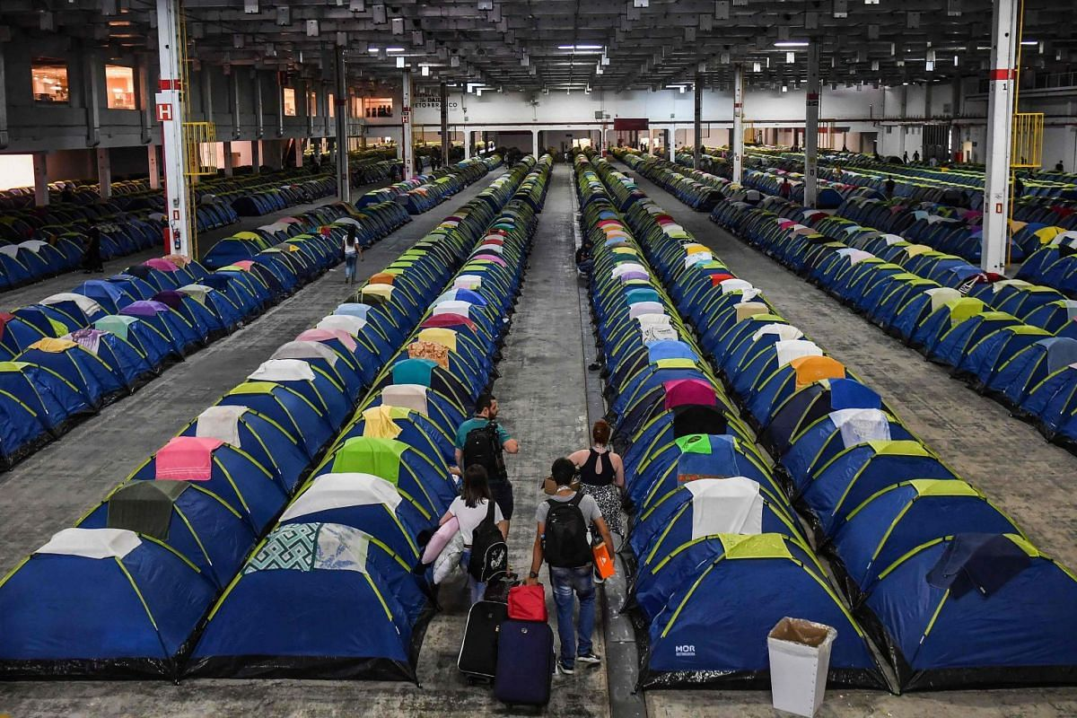Participants camp at the 12th edition of the Campus Party technological event, in Sao Paulo, Brazil, on February 12, 2019. PHOTO: AFP