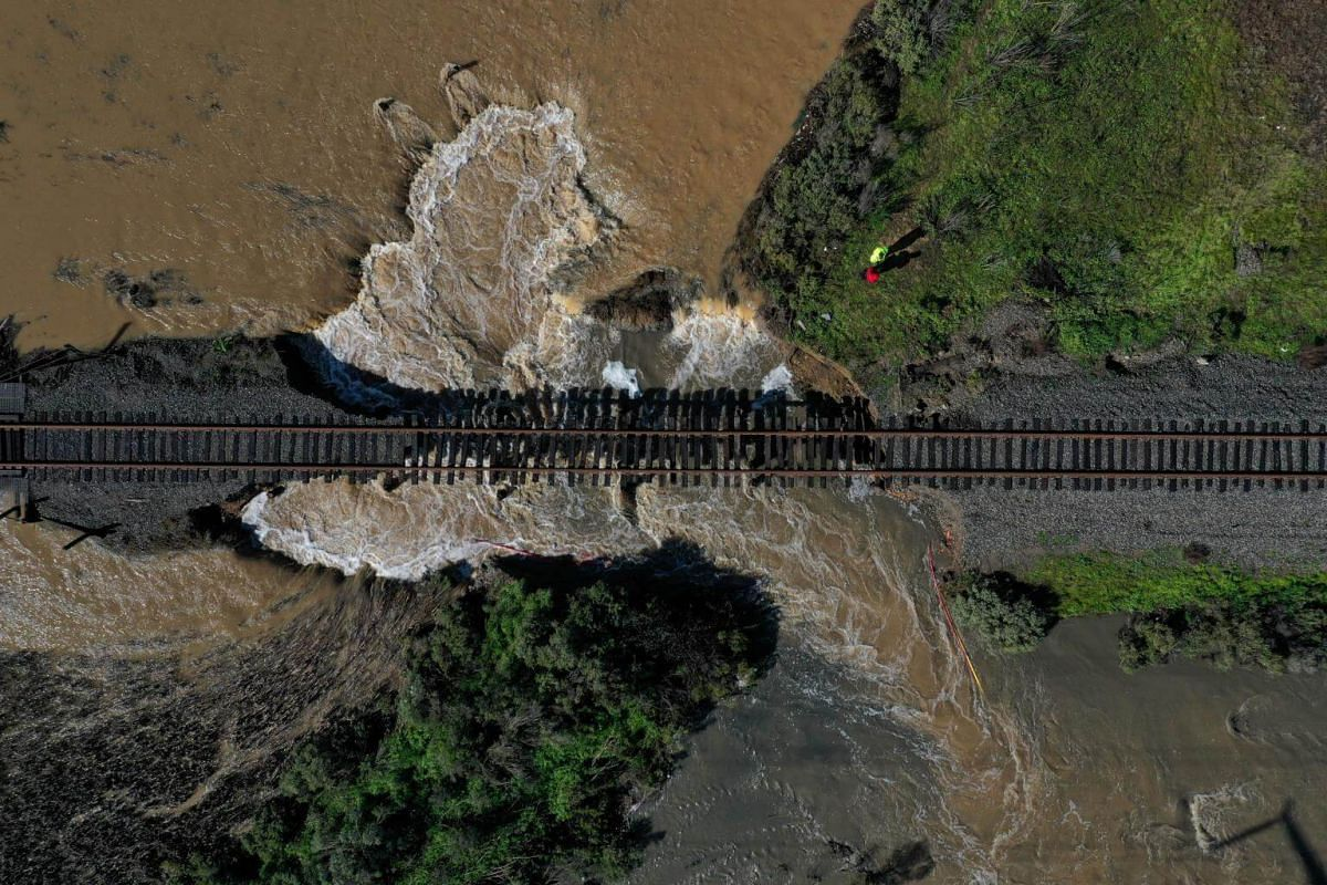 A levee that was breached during a storm in Novato, California, on Feb 14, 2019.