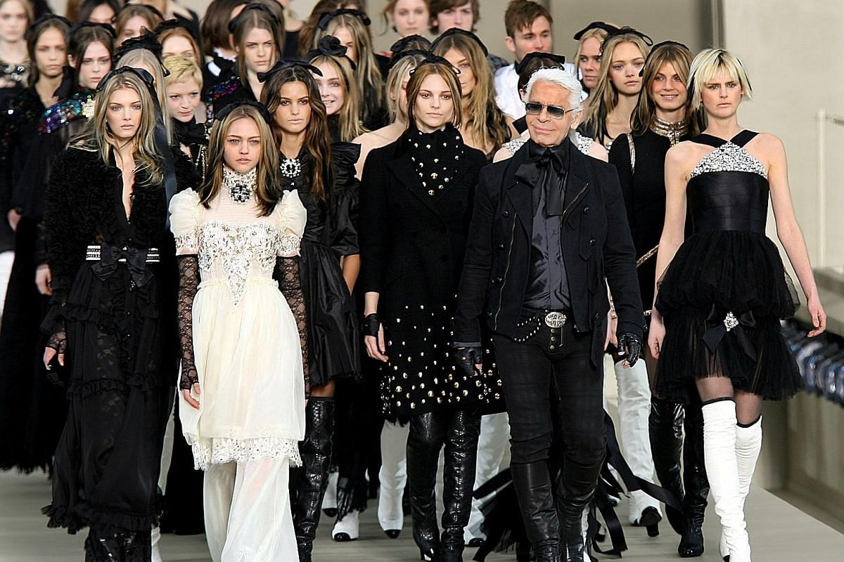 Karl Lagerfeld at the Fall/Winter 2006/2007 ready-to-wear Chanel collection in Paris. The designer reinvented the iconic brand which was struggling after the death of founder Coco Chanel.