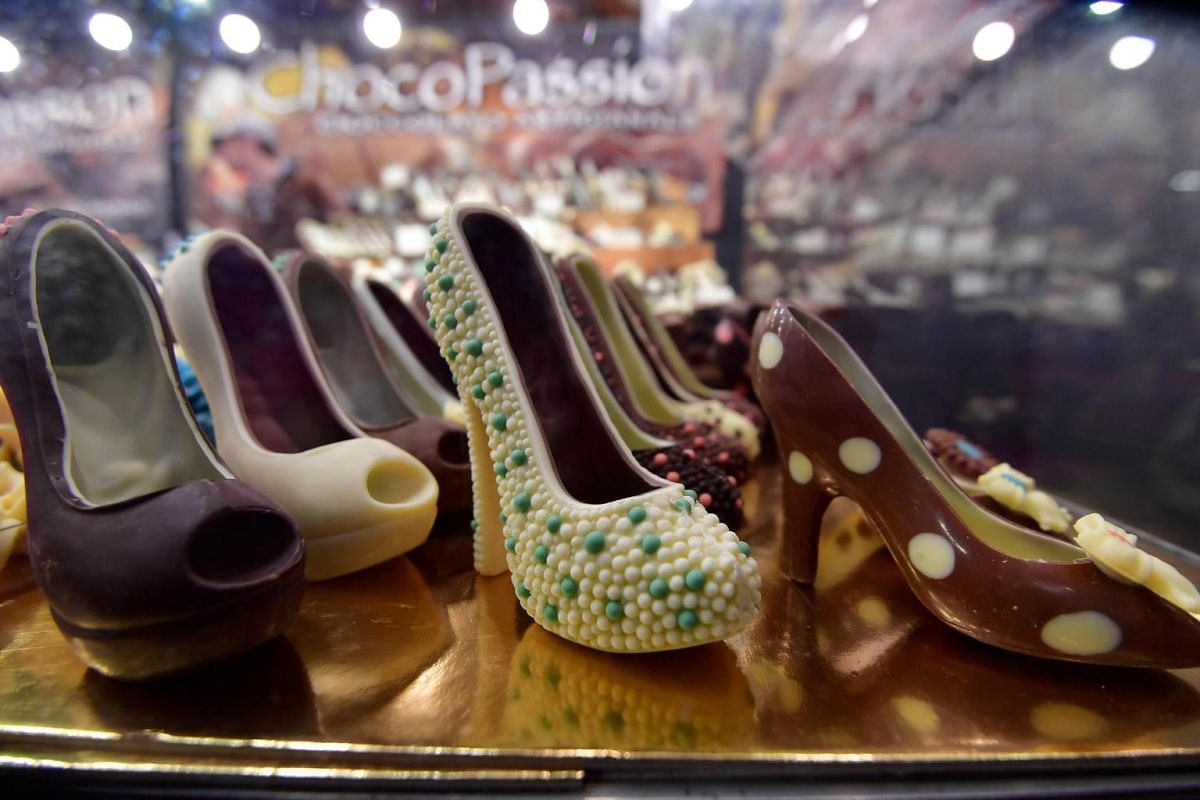 Chocolate creations representing heel shoes are on display at the sixth Chocolate Fair in Brussels, on Feb 21, 2019.