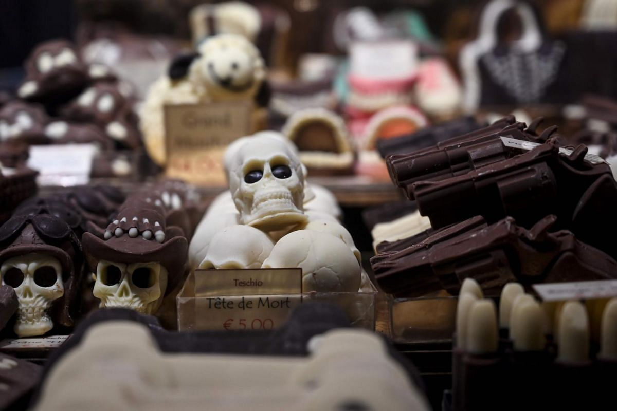 Chocolate creations representing skulls are on display at the sixth Chocolate Fair in Brussels, on Feb 21, 2019.