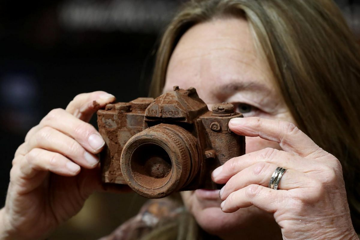 A camera made of chocolate is seen at the Le Salon du Chocolat fair, in Brussels, Belgium, on Feb 21, 2019.