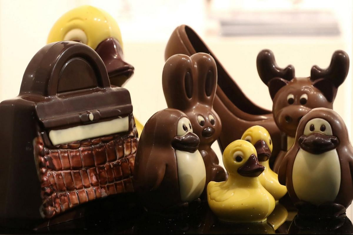Figurines made of chocolate are seen at the Le Salon du Chocolat fair, in Brussels, Belgium, on Feb 21, 2019.