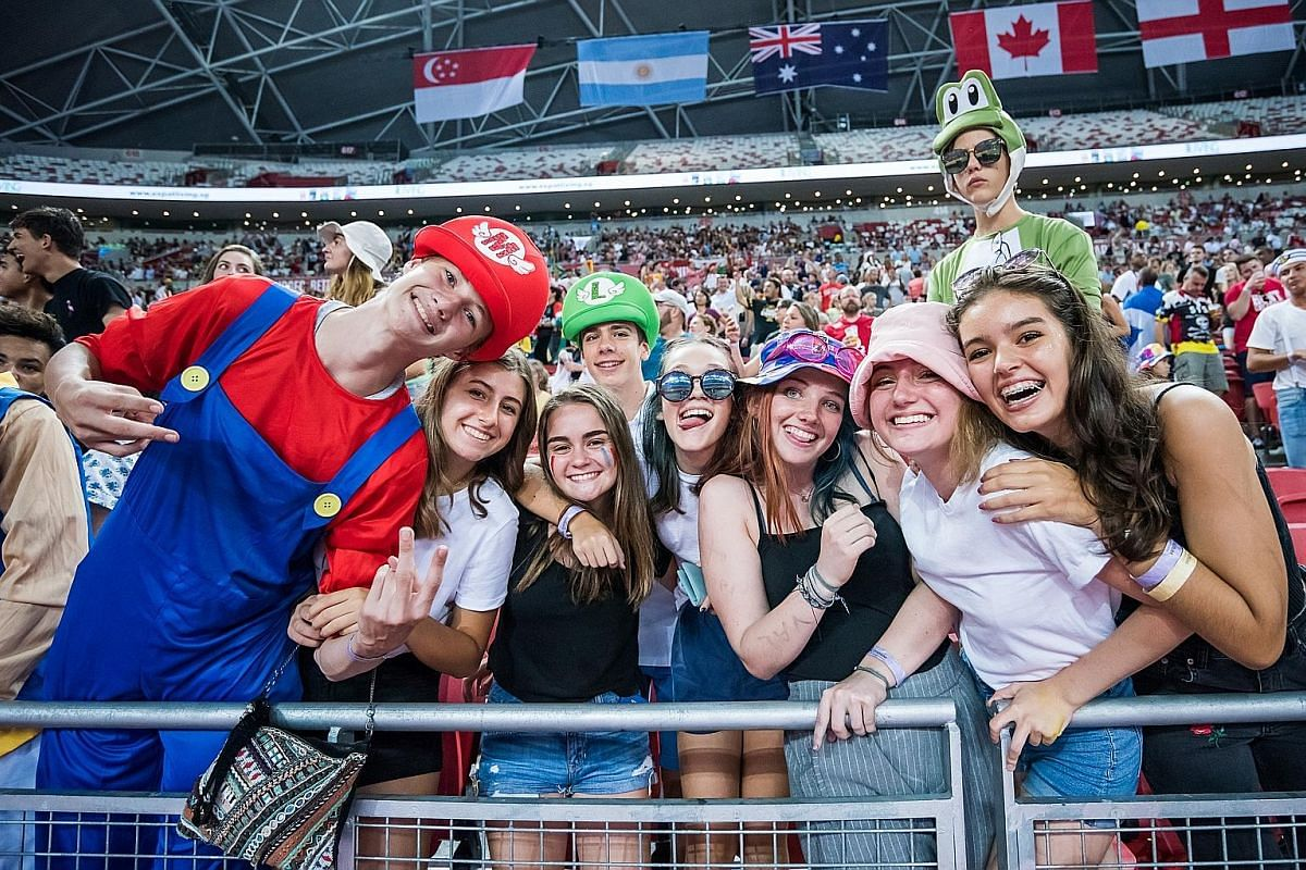 Rugby fans at the HSBC Singapore Rugby Sevens.