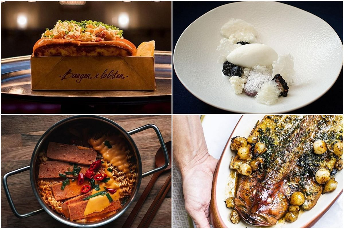 Dishes from (clockwise from top left) Burger & Lobster, Restaurant Preludio, Olivia Restaurant & Lounge and Saranghae.