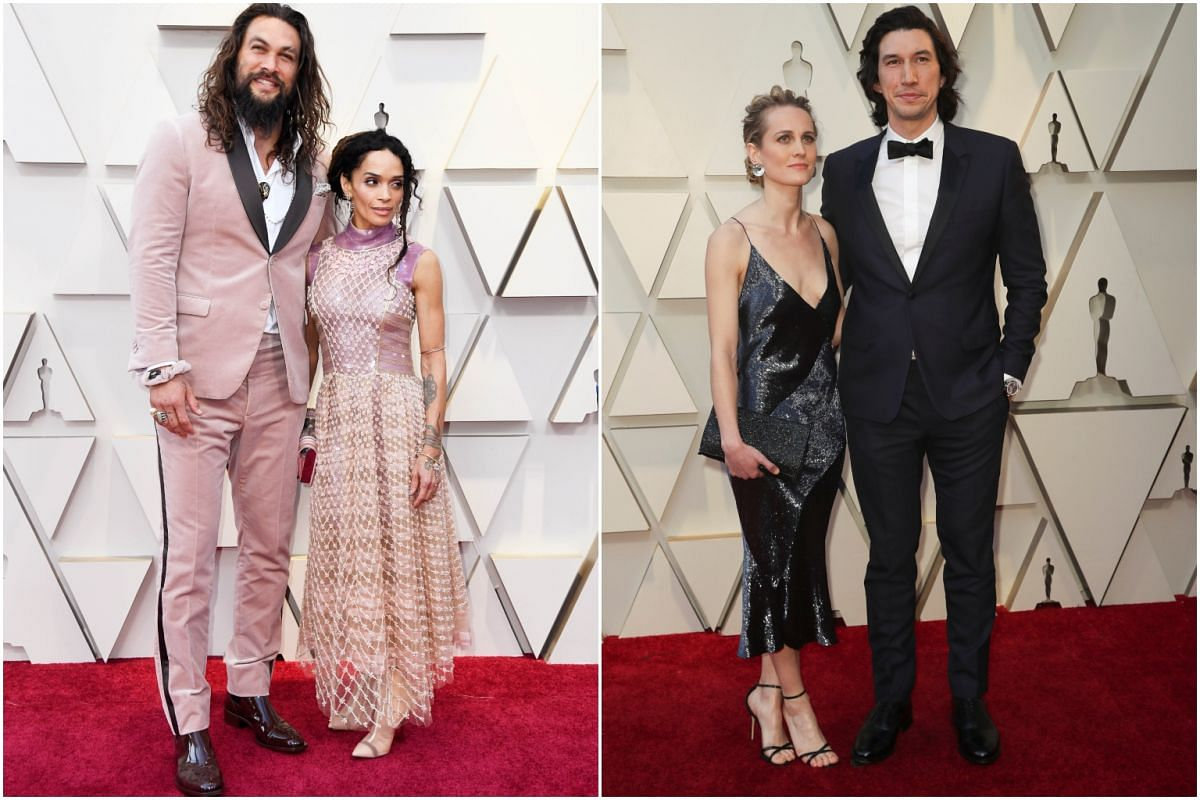 Jason Momoa (left) with his wife Lisa Bonet, and Adam Driver (right) with his wife Joanne Tucker.