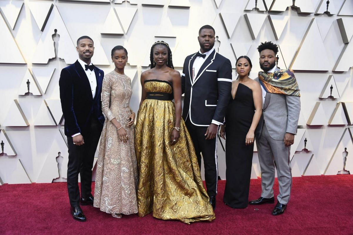 Michael B. Jordan (left) and the cast of Black Panther.