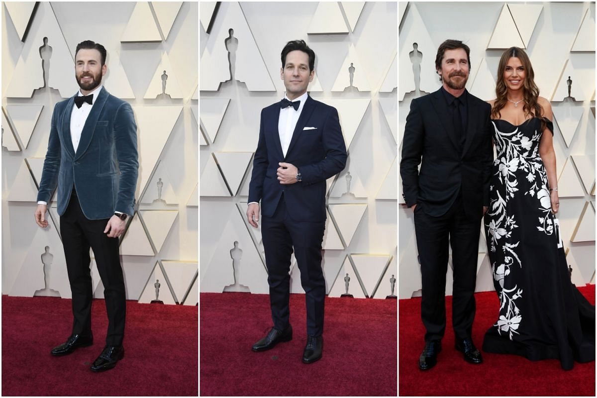 (From left) Chris Evans, Paul Rudd and Christian Bale with his wife Sibi Blazic.
