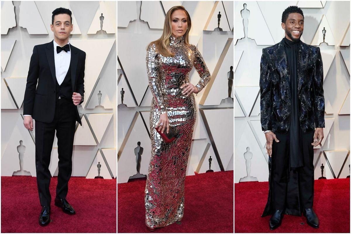 (From left) Rami Malek, Jennifer Lopez and Chadwick Boseman.