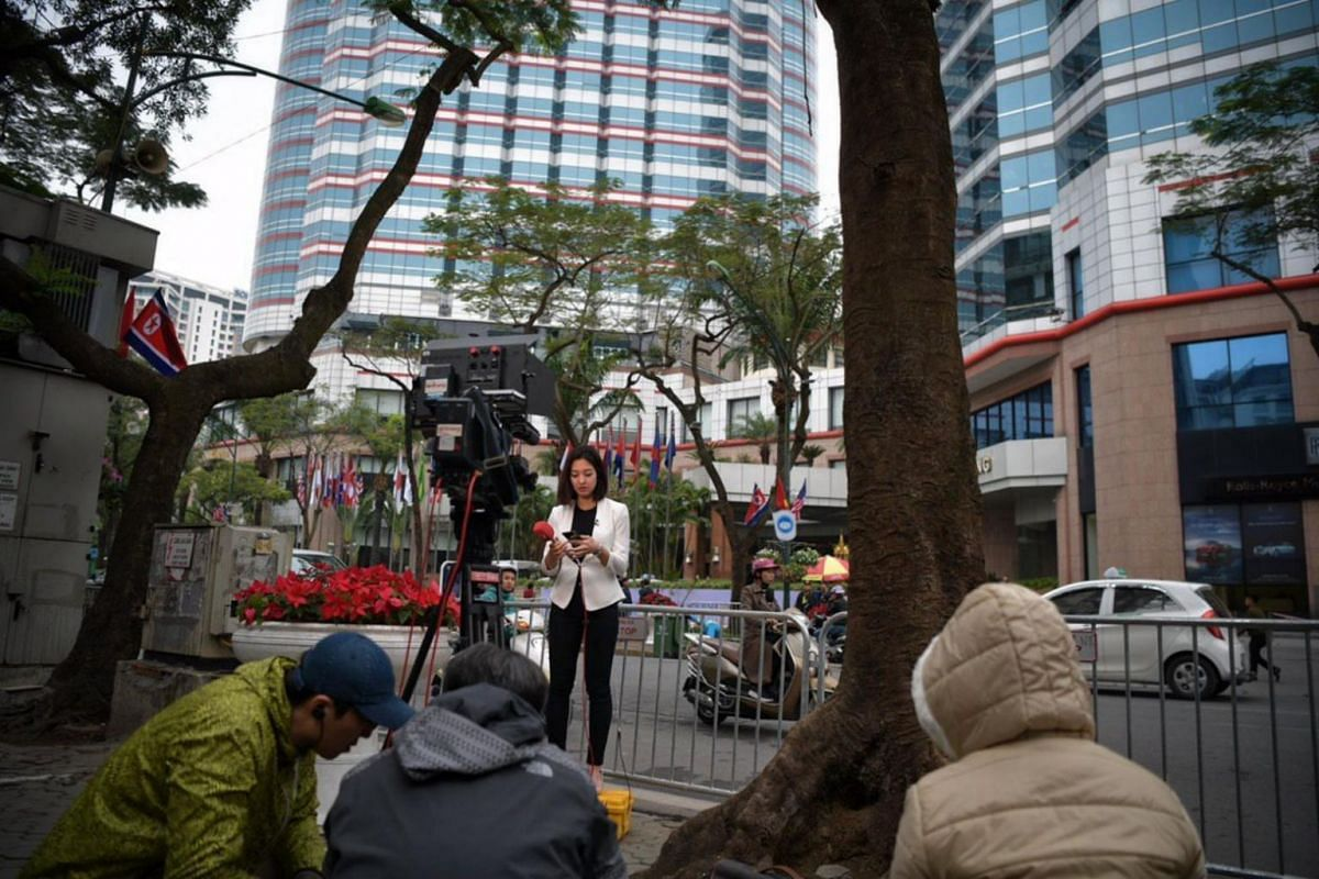 International media waiting for Mr Kim's arrival outside the Melia Hanoi Hotel on Feb 25, 2019.