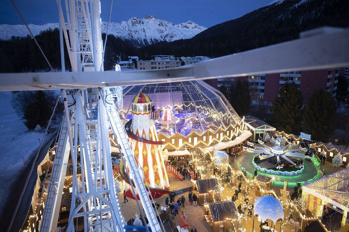 General view of a private luna park for a Indian pre-wedding party in St. Moritz, Switzerland, Februray 25, 2019. Indian Akash Ambani, son of billionaire Mukesh Ambani, and Shloka Mehta, daugther to Russel Metha, manager of diamond company Rosy Blue