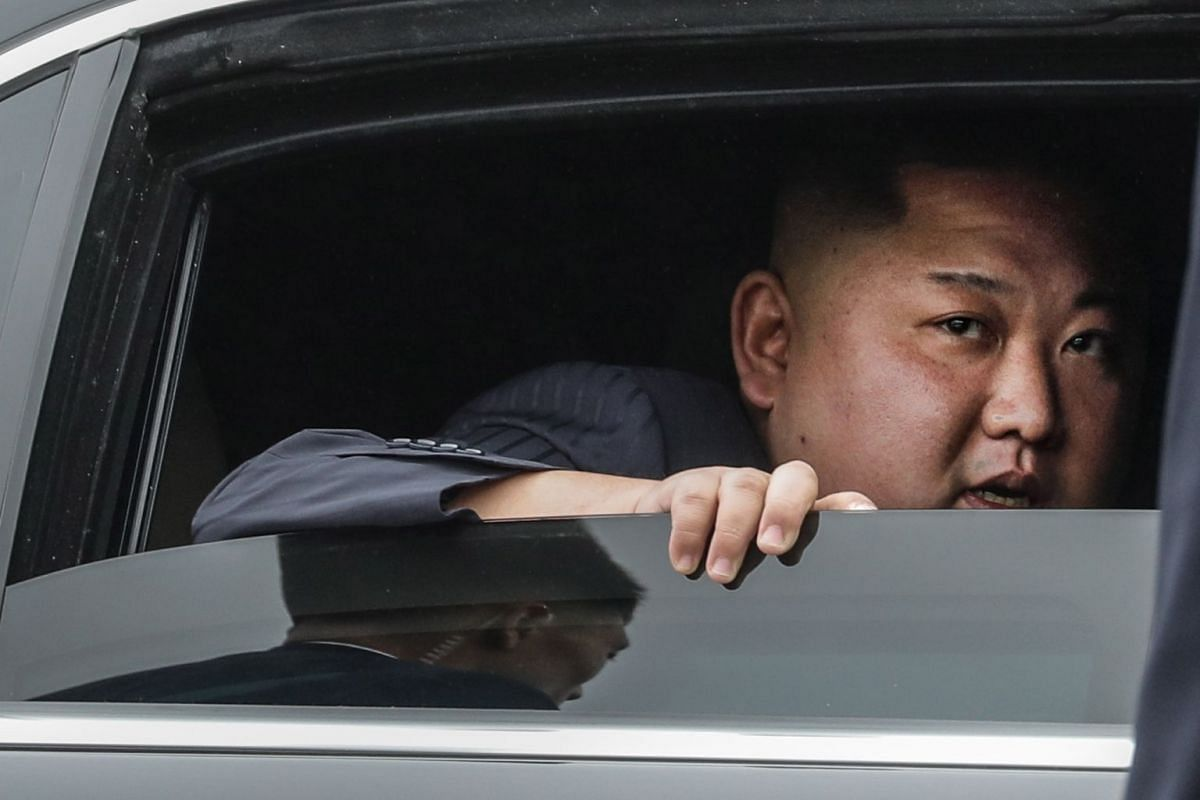 North Korean leader Kim Jong Un in his car as he arrives in Dong Dang ahead of the second US-North Korea summit in Hanoi, Vietnam, on Feb 26, 2019.