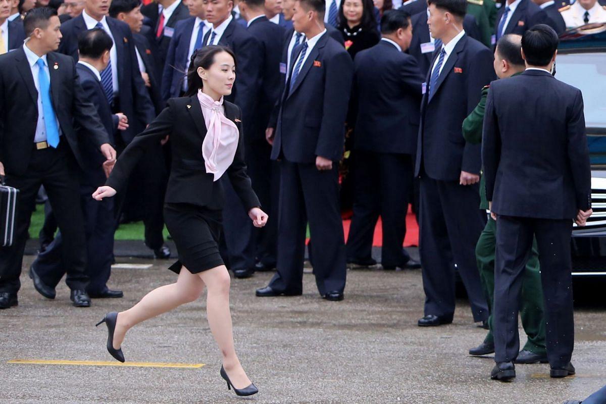 Ms Kim Yo Jong, sister of North Korea's leader Kim Jong Un runs after they arrive at Dong Dang, Vietnam, the border town with China, on Feb 26, 2019.