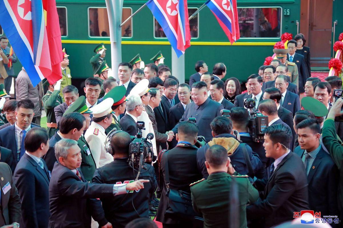 North Korea's leader Kim Jong Un arrives at the Dong Dang railway station, Vietnam, at the border with China, on Feb 26, 2019.