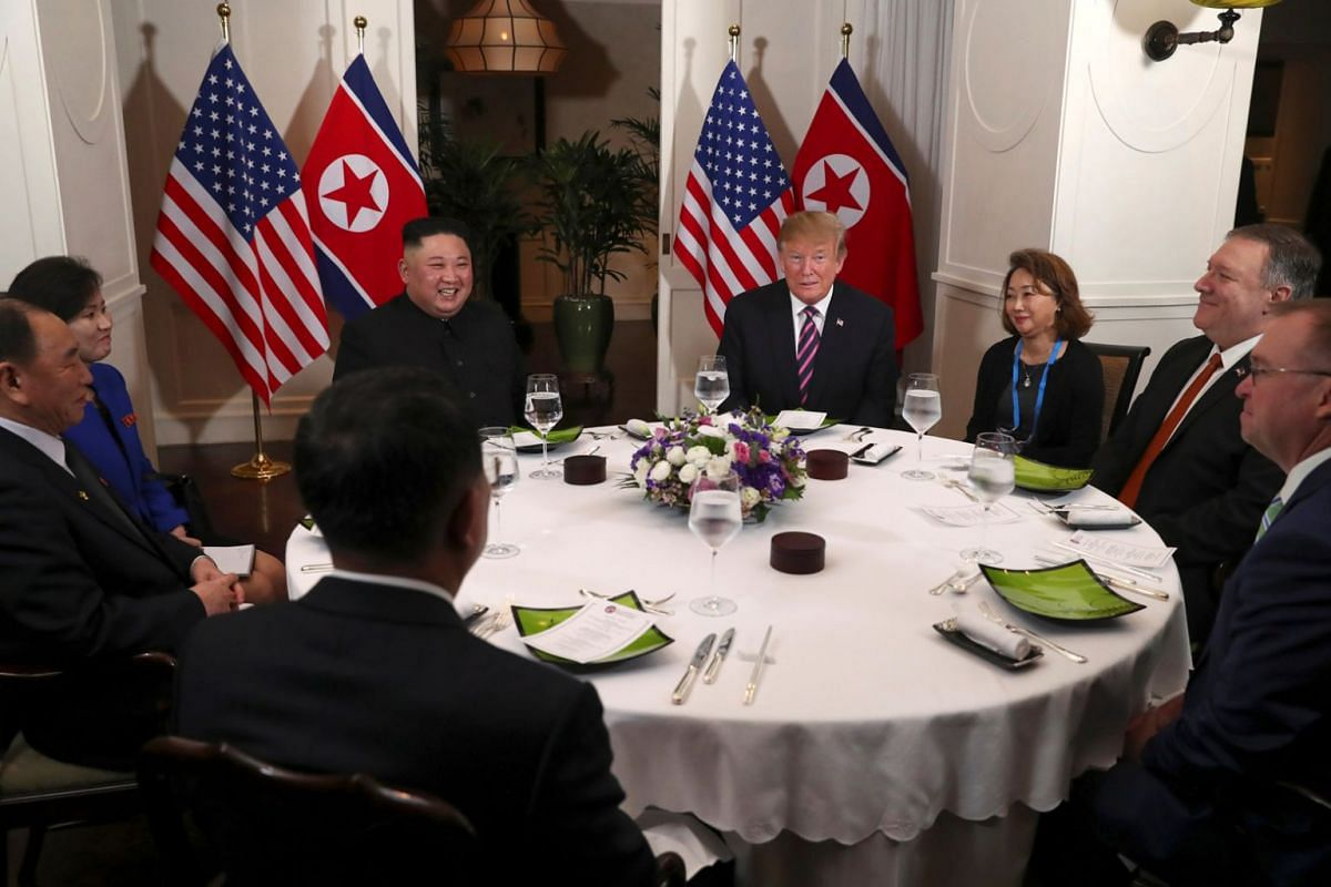 US President Donald Trump and North Korean leader Kim Jong Un at a dinner at Sofitel Legend Metropole Hotel in Hanoi on Feb 27, 2019.