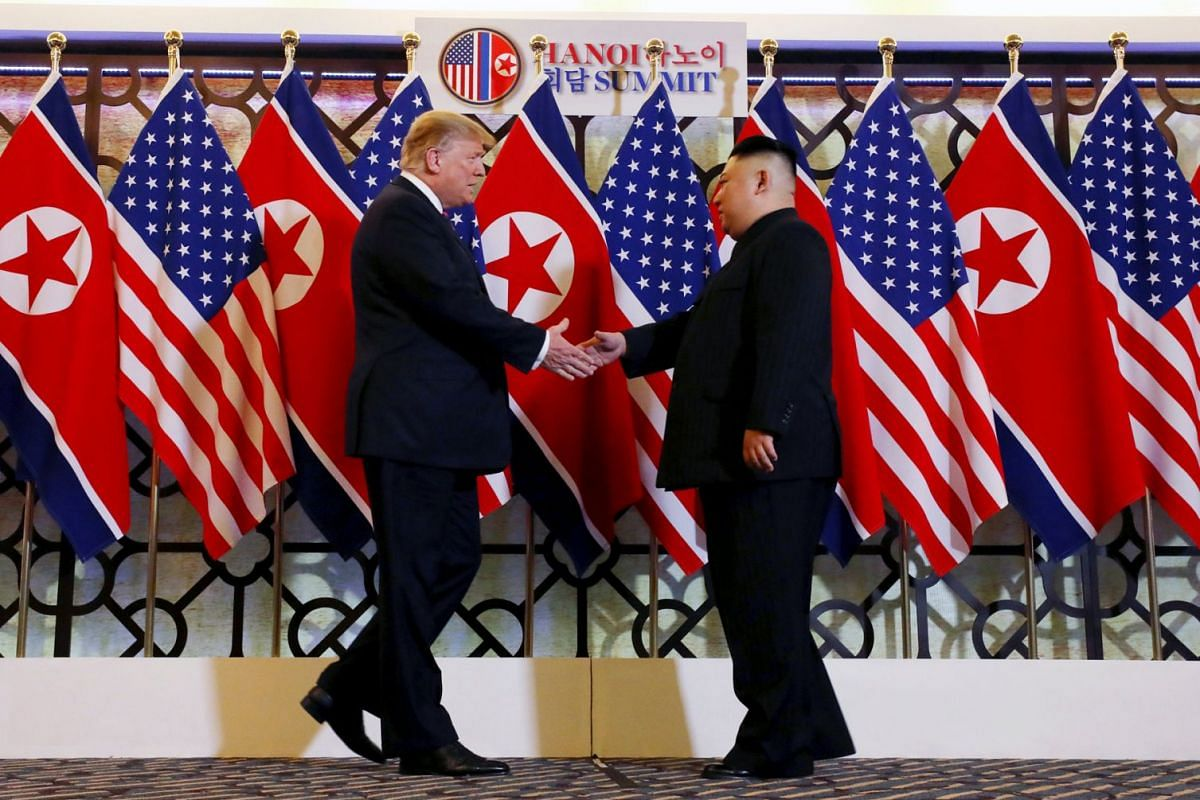 US President Donald Trump and North Korean leader Kim Jong Un shook hands before their one-on-one talks at Sofitel Legend Metropole Hotel on Feb 27, 2019.