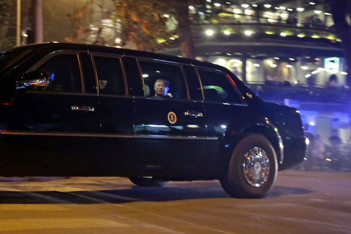 US President Donald Trump leaves Sofitel Legend Metropole Hotel after his meeting with North Korean leader Kim Jong Un on Feb 27, 2019.