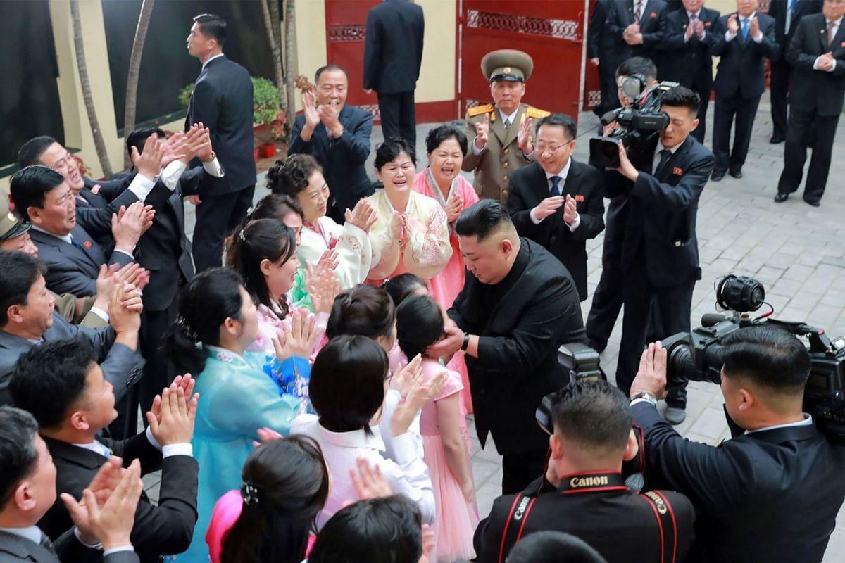 North Korean leader Kim Jong Un visits the North Korean Embassy in Hanoi, Vietnam, on Feb 26, 2019.