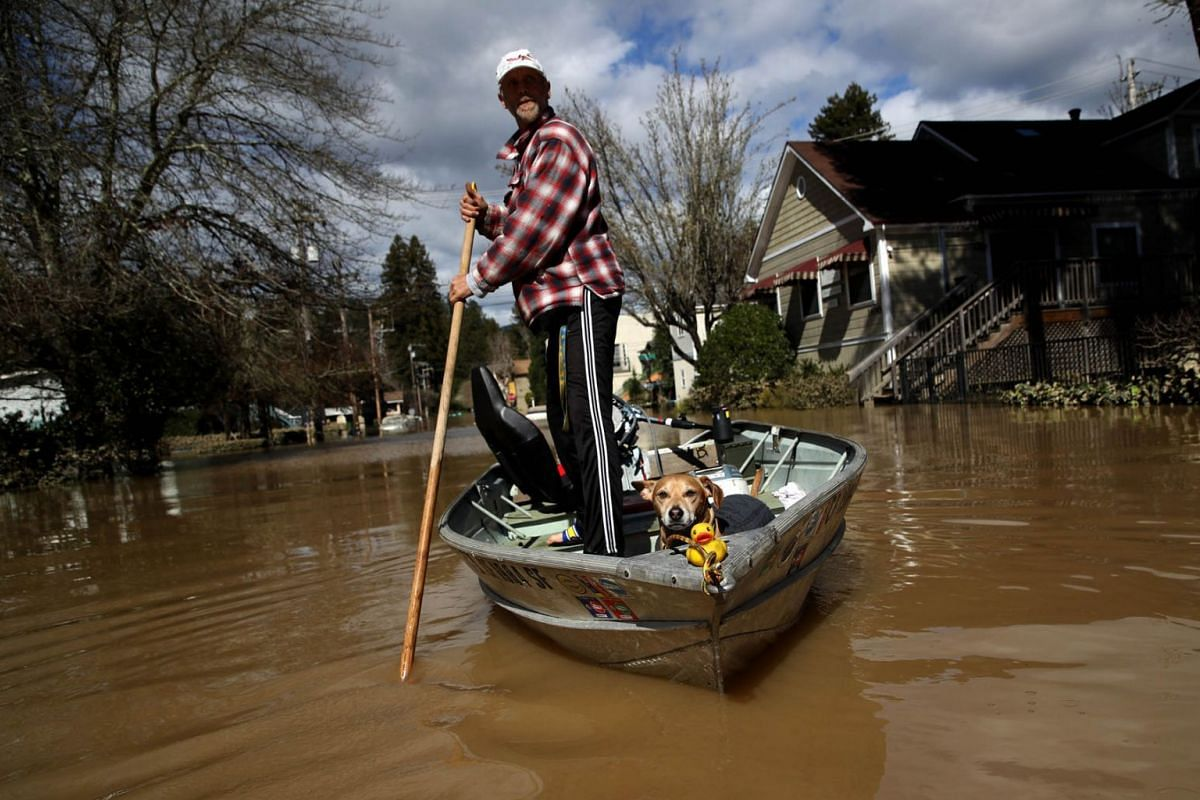 A resident and his dog navigate through a flooded neighborhood on February 28, 2019 in Guerneville, California. PHOTO: GETTY IMAGES/AFP
