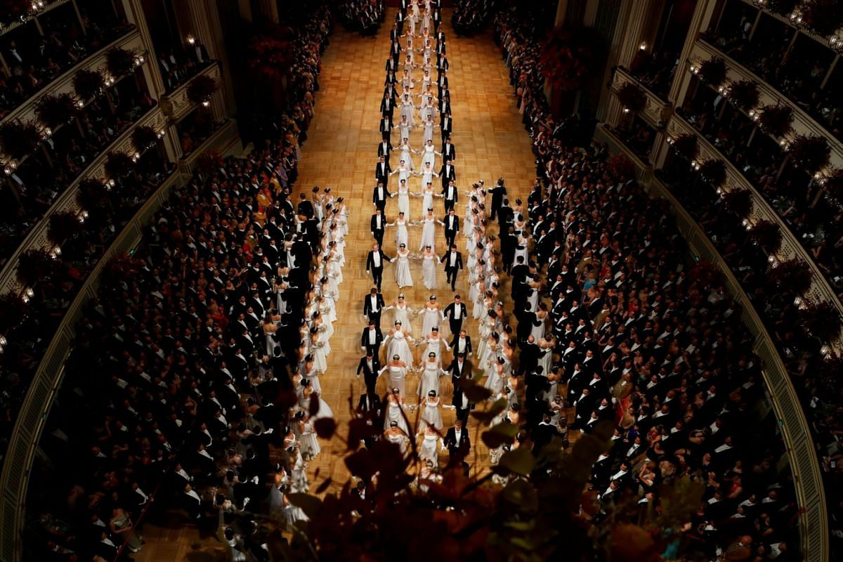 Members of the opening committee line up during the opening ceremony of the traditional Opera Ball in Vienna, Austria, February 28, 2019. PHOTO: REUTERS