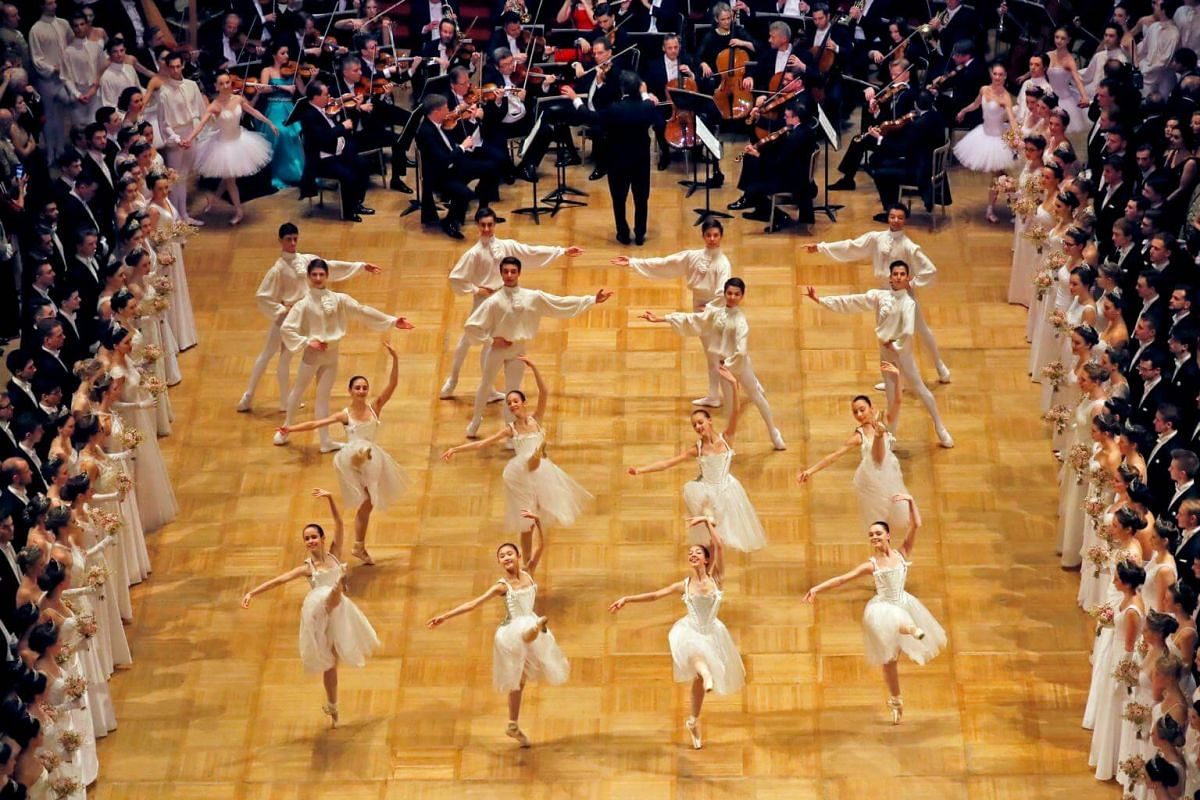 Dancers of the Wiener Staatsballett (state ballet) perform during the opening ceremony of the traditional Opera Ball in Vienna.