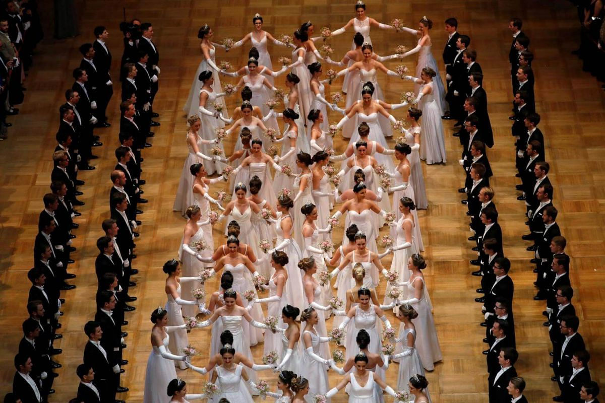 Members of the opening committee dance after the opening ceremony of the traditional Opera Ball in Vienna.