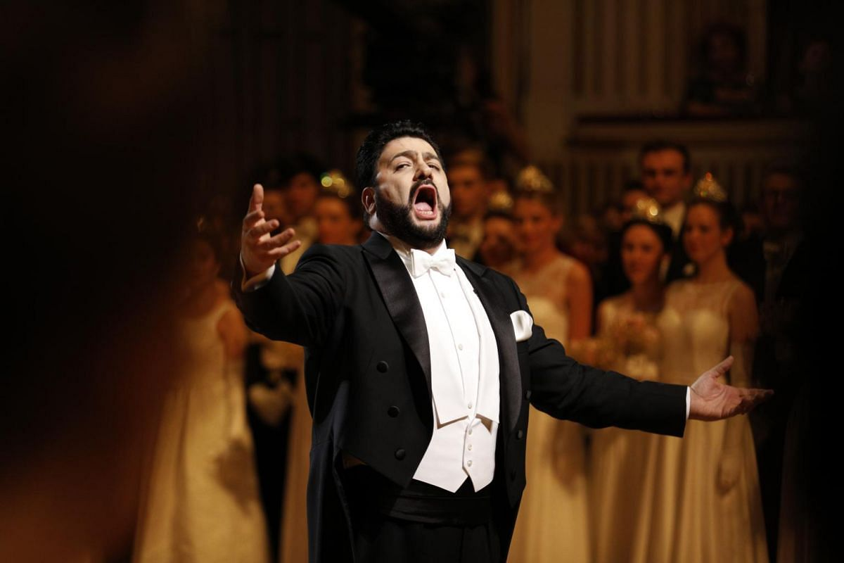 Azerbaijani tenor Yusif Eyvazov performs during the opening ceremony of the traditional 63rd Vienna Opera Ball at the State Opera.