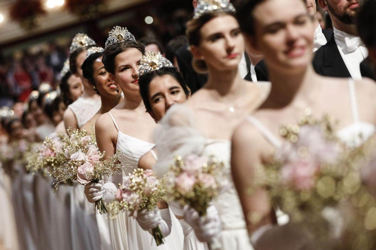 Debutantes performing their dance item during the opening ceremony of the traditional 63rd Vienna Opera Ball at the State Opera.